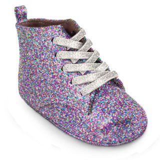Baby Girl Wee Kids Glitter Hi-Top Sneaker Crib Shoes