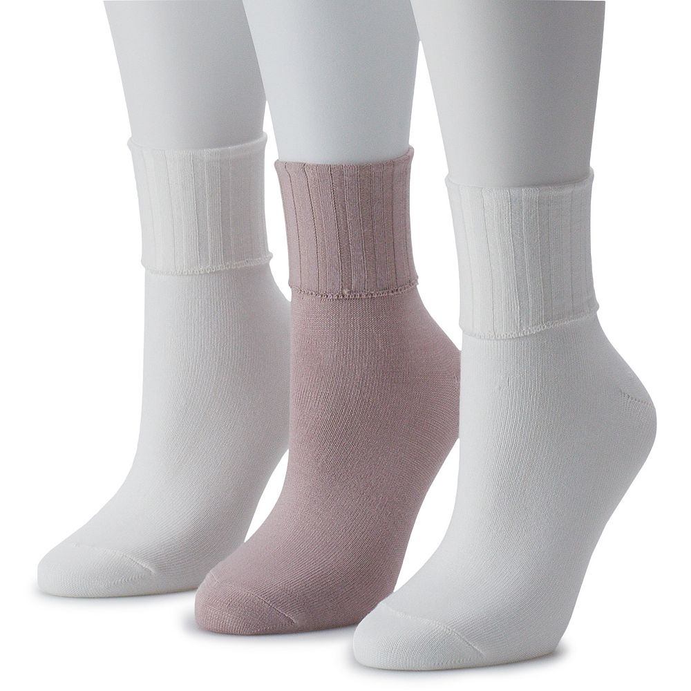 Women's SONOMA Goods for Life® 3-Pack Soft & Comfortable Solid Turn Cuff Socks