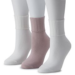Women's SONOMA Goods for Life™ 3-Pack Solid Turn Cuff Socks