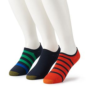 Big & Tall GOLDTOE 3-pack Sta-Cool Rugby-Striped Ultra-Low Oxford Extended Size Liner Socks