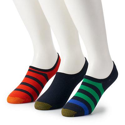 Men's GOLDTOE 3-pack Sta-Cool Rugby Striped & Solid Ultra-Low Oxford Liner Socks