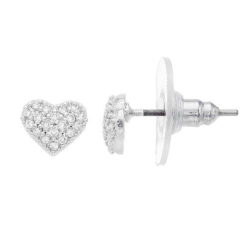 LC Lauren Conrad Cubic Zirconia Heart Stud Earrings