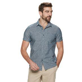 Men's Marc Anthony Slim-Fit Linen-Blend 1-Pocket Button-Down Shirt