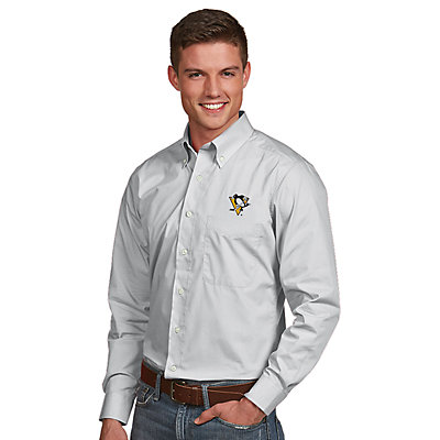 Men's Antigua Pittsburgh Penguins Dynasty Button-Down Shirt