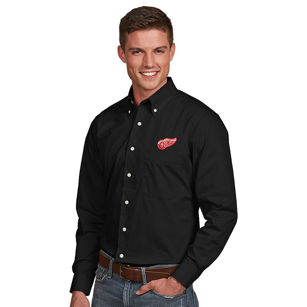 Men's Antigua Detroit Red Wings Dynasty Button-Down Shirt