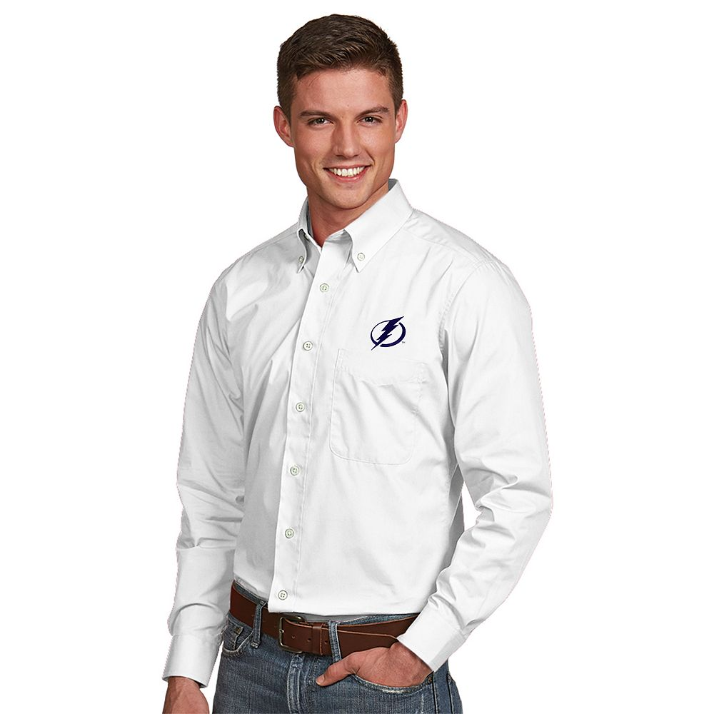 Men's Antigua Tampa Bay Lightning Dynasty Button-Down Shirt