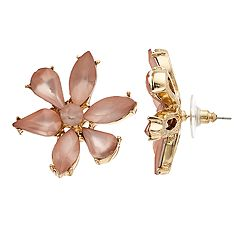 Gold Tone Pink Simulated Crystal Flower Motif Button Stud Earrings