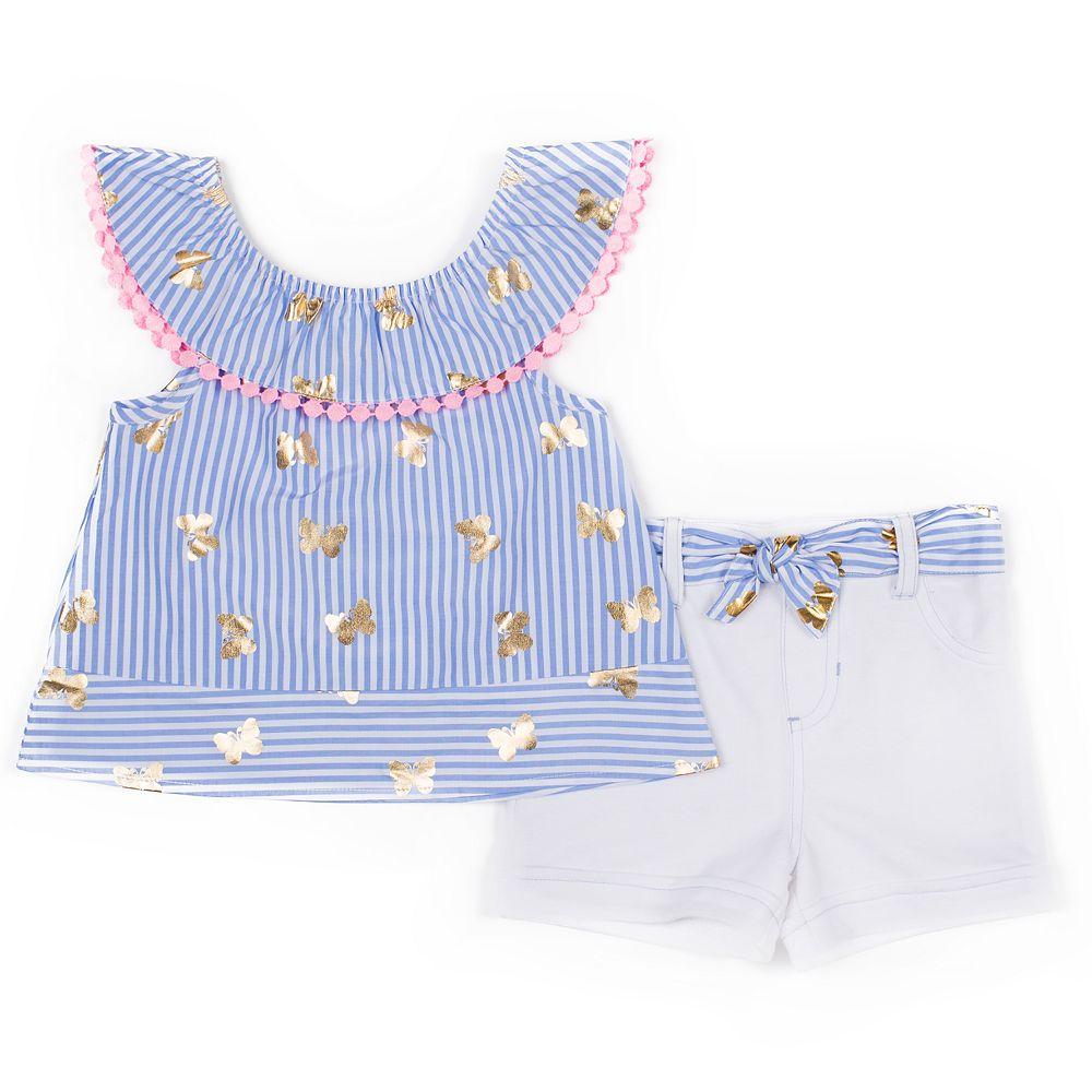Girls 4-6x Little Lass 2-Piece Poplin Butterfly Shorts Sets