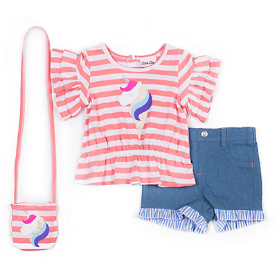 Girls 4-6x Little Lass 2-Piece Striped Unicorn Shorts Set