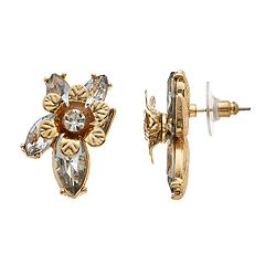 Gold-Tone Simulated Stone Flower Stud Earrings