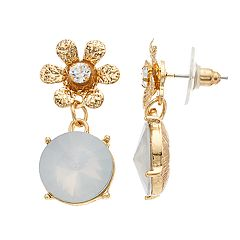 Gold Tone Simulated Stone & Crystal Flower Motif Top Drop Earrings