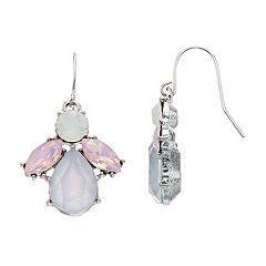 Silver Tone Simulated Crystal Cluster Drop Earrings
