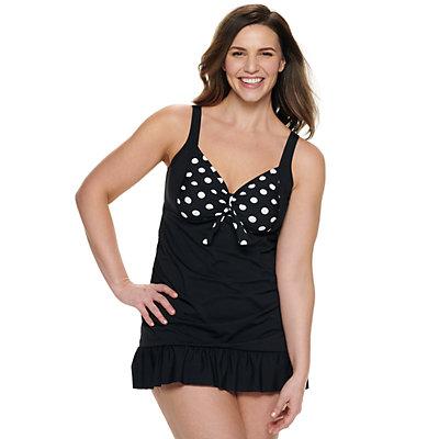 Women's Apt. 9® Bow Front Ruffled Swim Dress