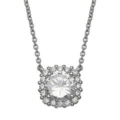 PRIMROSE Sterling Silver Cubic Zirconia Square Halo Necklace