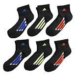 Boys 4-20 adidas Vertical Stripe 6-Pack Quarter Crew Socks