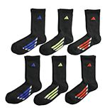 Boys 4-20 adidas Vertical Stripe 6-Pack Crew Socks