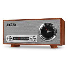 Victrola Bluetooth Analog Clock Stereo with FM Radio & USB Charging