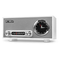Victrola Bluetooth Analog Clock Stereo with FM Radio & USB Charging