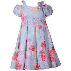 Girls 4-6x Bonnie Jean Floral Cold-Shoulder Dress & Hat Set