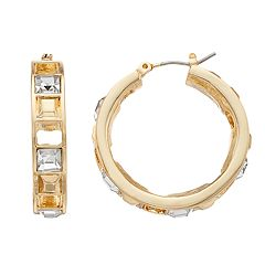 Jennifer Lopez Gold Tone Glam Square Stone Small Hoop Earrings