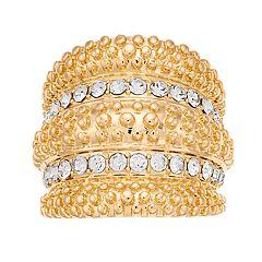 Jennifer Lopez Gold Tone Glam Pave Stone Ring