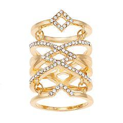 Jennifer Lopez Gold Tone Glam Pave Stone Stacked Ring
