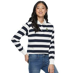 Juniors' Striped Cropped Rugby Polo