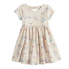 db68fd05bd6602 Baby Girl Jumping Beans® Printed Bow-Back Dress