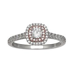 PRIMROSE Two-Tone Cubic Zirconia Double Row Ring