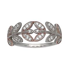 PRIMROSE Two-Tone Cubic Zirconia Leaf Band Ring