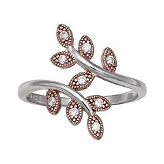 PRIMROSE Two-Tone Cubic Zirconia Vine Band Ring