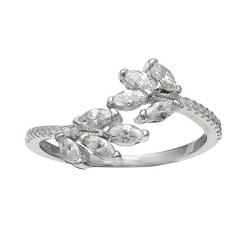 Primrose Sterling Silver Marquise Cubic Zirconia Cluster Bypass Ring by Primrose