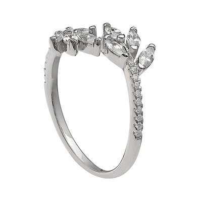 PRIMROSE Sterling Silver Marquise Cubic Zirconia Cluster Bypass Ring