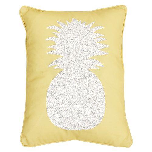 Thro by Marlo Lorenz Kalea Pineapple Sequin Faux Linen Throw Pillow