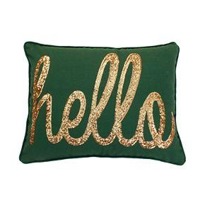 """Thro by Marlo Lorenz """"Hello"""" Sequin Script Faux Linen Throw Pillow"""