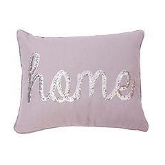 Thro by Marlo Lorenz Home Sequin Script Faux Linen Throw Pillow