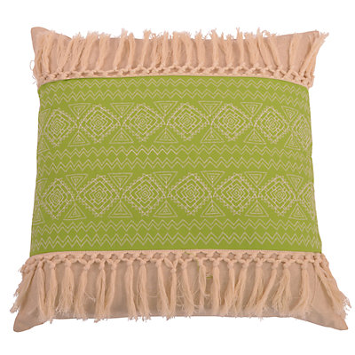 Thro by Marlo Lorenz Harriet Embroidered Natural Fringe Throw Pillow