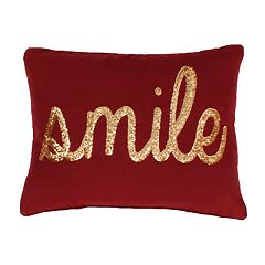 Thro by Marlo Lorenz 'Smile' Sequin Script Faux Linen Throw Pillow