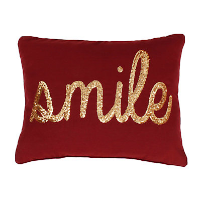 "Thro by Marlo Lorenz ""Smile"" Sequin Script Faux Linen Throw Pillow"
