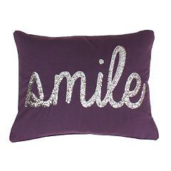 Thro by Marlo Lorenz 'Smile' Sequin Script Faux Linen Throw Pillow