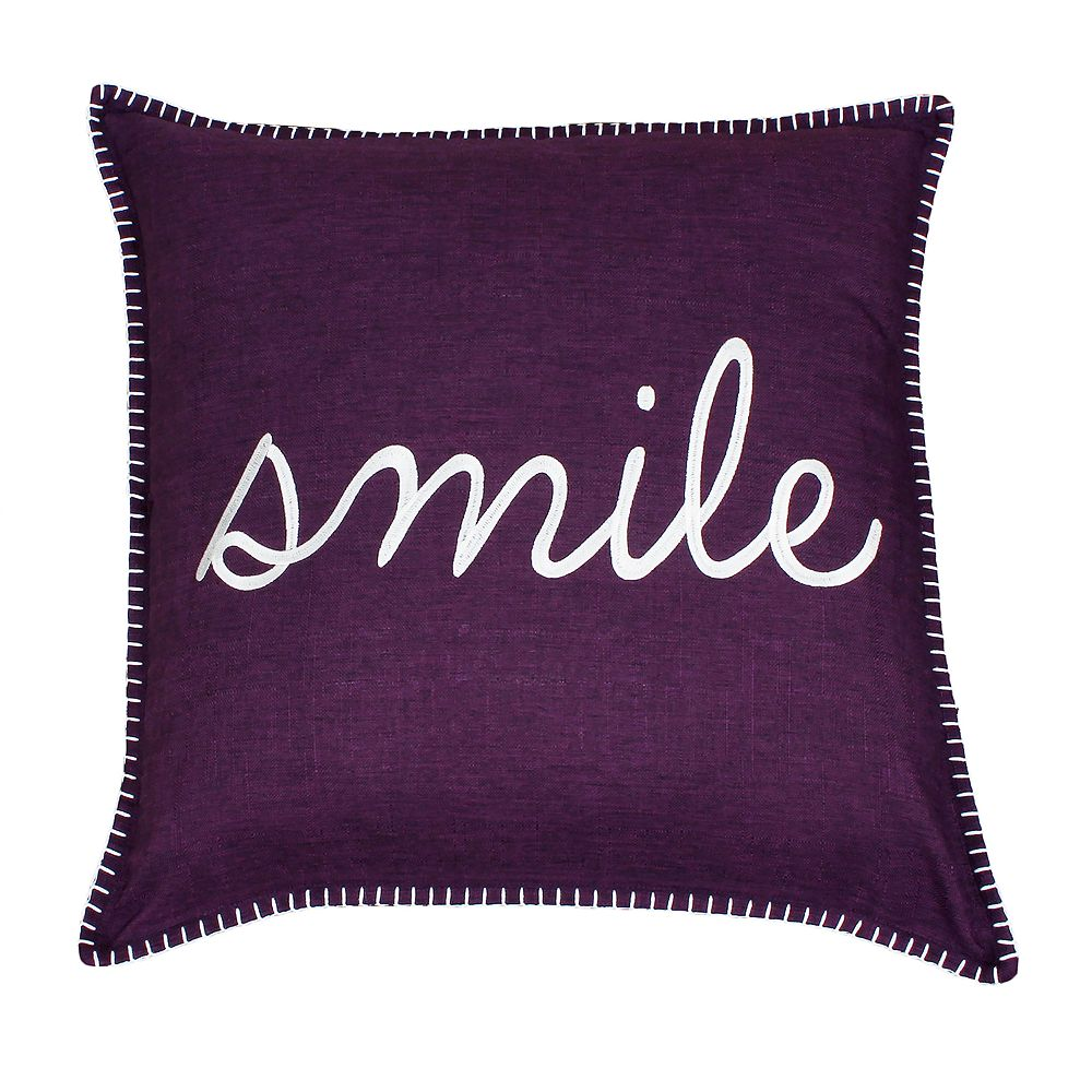 Thro by Marlo Lorenz Shiloh Smile Embroidered Throw Pillow