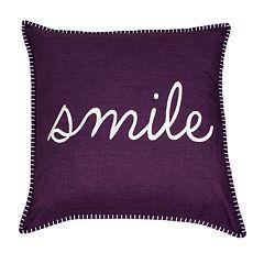 Thro by Marlo Lorenz Shiloh Smile Embroidered Throw Pillow