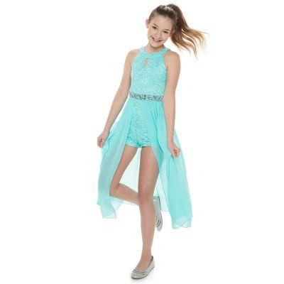 Girls 4-16 & Plus Size Speechless Glitter Lace Walk-Through Maxi Romper