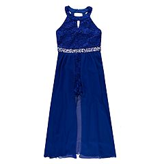 84841b92 Girls 4-16 & Plus Size Speechless Glitter Lace Walk-Through Maxi Romper