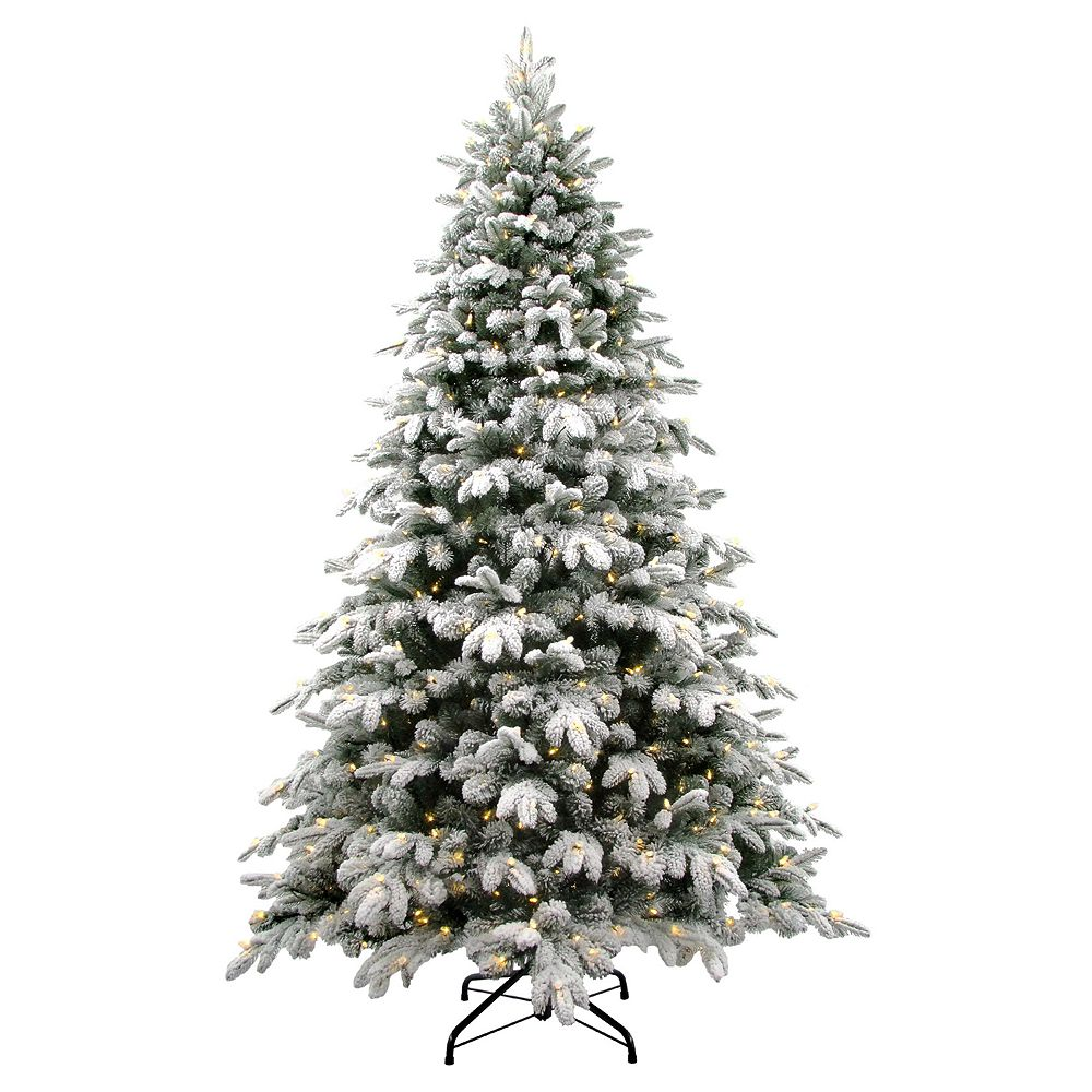 National Tree Company 7.5-ft. LED Flocked Avalanche Artificial Christmas Tree