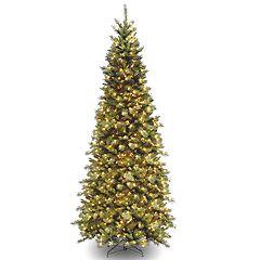 National Tree Company 10-ft. Pre-Lit Tiffany Fir Slim Artificial Christmas Tree