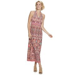 Petites Suite 7 Print Halter Maxi Dress