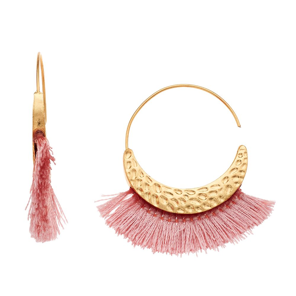 SONOMA Goods for Life® Pink Fringe Nickel Free Statement Earrings