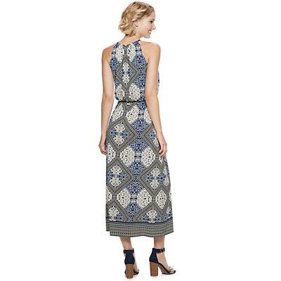 Petite Suite 7 Mosaic Print Halter Maxi Dress
