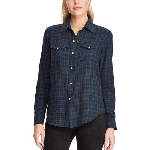 Women's Chaps Plaid Western Shirt